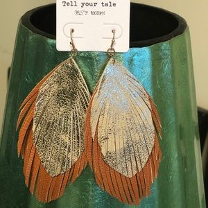 Leather feather earrings - BRAND NEW!!